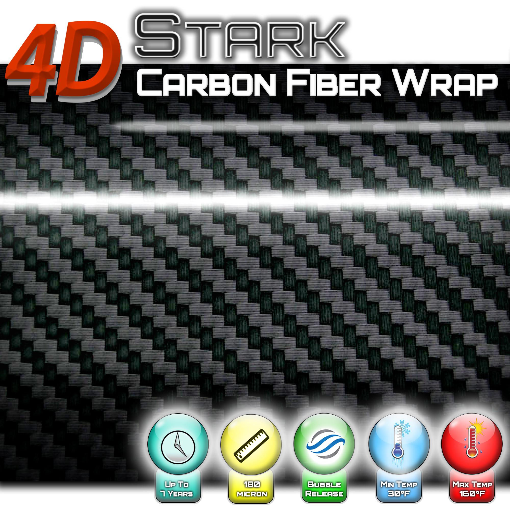 Black 4D GLOSS Fiber Vinyl Film Wrap Sheet With Air Release Bubble Free