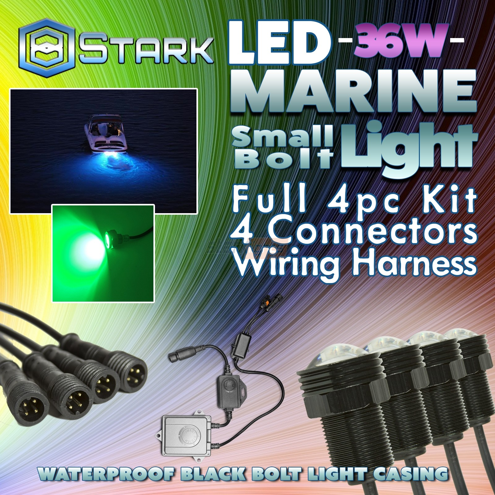 Stark 36w Led Boat Plug Light Drain Marine Underwater Color Changing Wiring Rgb Remote 4pcs Lights Offroad