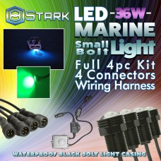 Stark 36W LED Boat Plug Light Drain Marine Underwater Color Changing RGB Remote - 4Pcs